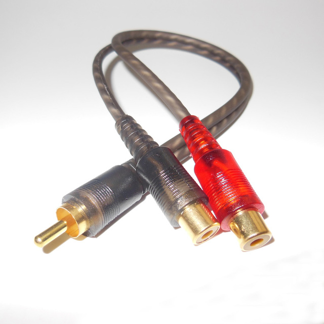 Car Styling 2pcs Auto Audio RCA Wire Speaker Cables 2 RCA Female ...