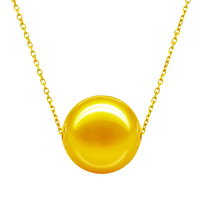 18K yellow rose white gold chains thread South sea golden pearls necklace single pearl necklace for career womens