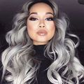 Royal 1PC Gray Clip in Hair Weaving Curly Grey Gradient Hair Extensions Full Head Cosplay Synthetic Hairpiece Hair Accessories