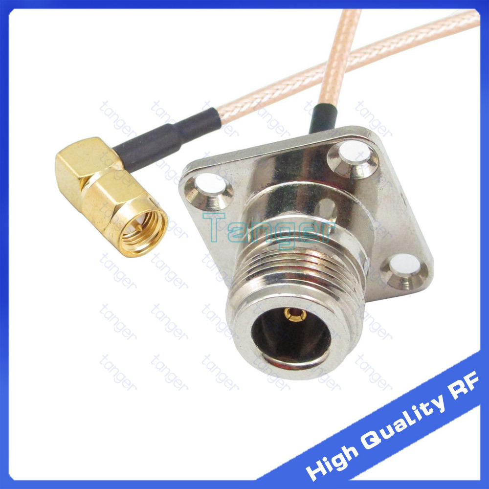 N female 4hole panle to SMA male right angle with RG-316 RF Coaxial Pigtail Jumper cable 6 15cm Tanger High Quality RF cables mcx male right angle to n female bulkhead with o ring cable rg316 for wireless rf coaxial jumper cable connector