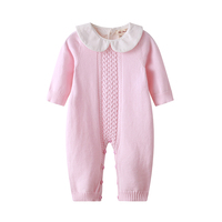 Auro Mesa Newborn Baby Clothes Infant Baby Pink Blue Knitting Romper Winter Infant Clothing