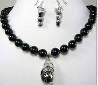 Hot koop nieuwe Stijl>> Mode mooie 10mm zwarte steen dragon oorbel hanger Ketting set