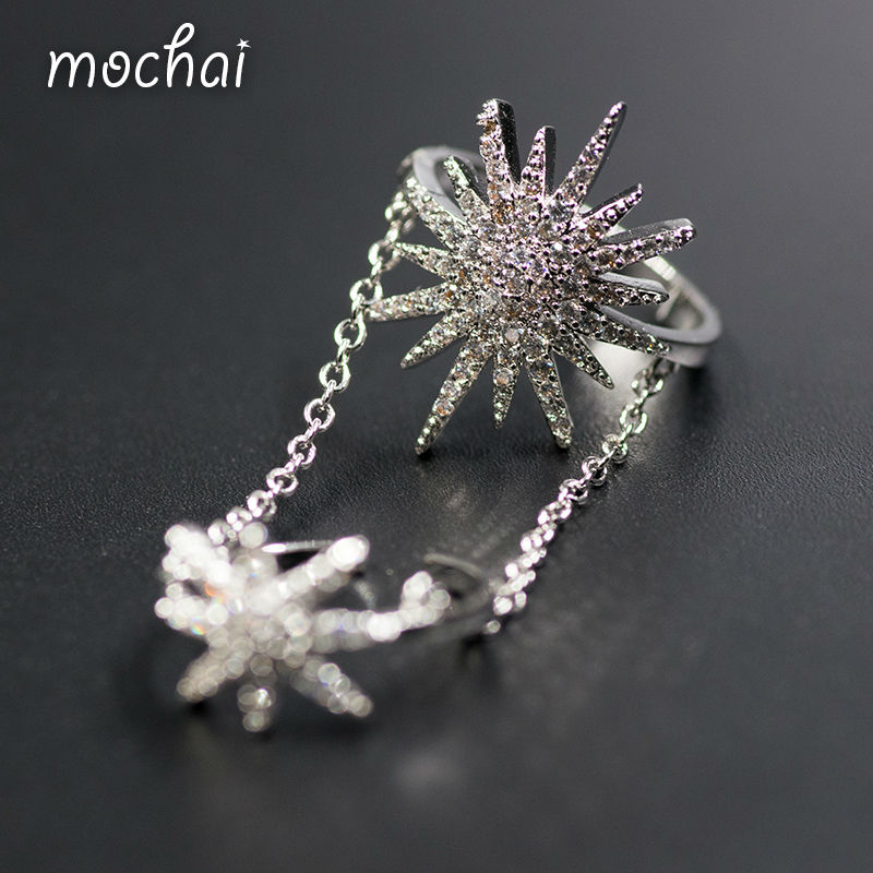 2016 famous brand design double finger joints sunflower and star ring for women top quality cubic
