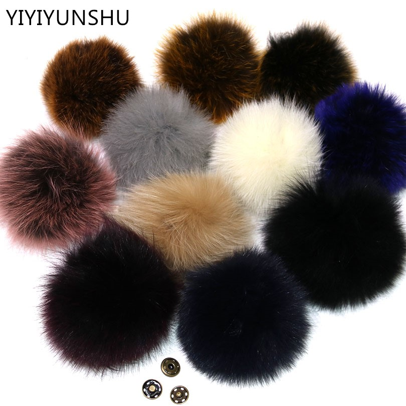 YIYIYUNSHU 10PCS 14-16cm Real Fox Fur Pompom fur Ball for Hat & Caps Big Natural Fur Pompon Ball For Shoes Hats Bags Accessories alphbet pompom fashion for car 12cm fluffy real fox fur pompon key ring keychain for bag accessory