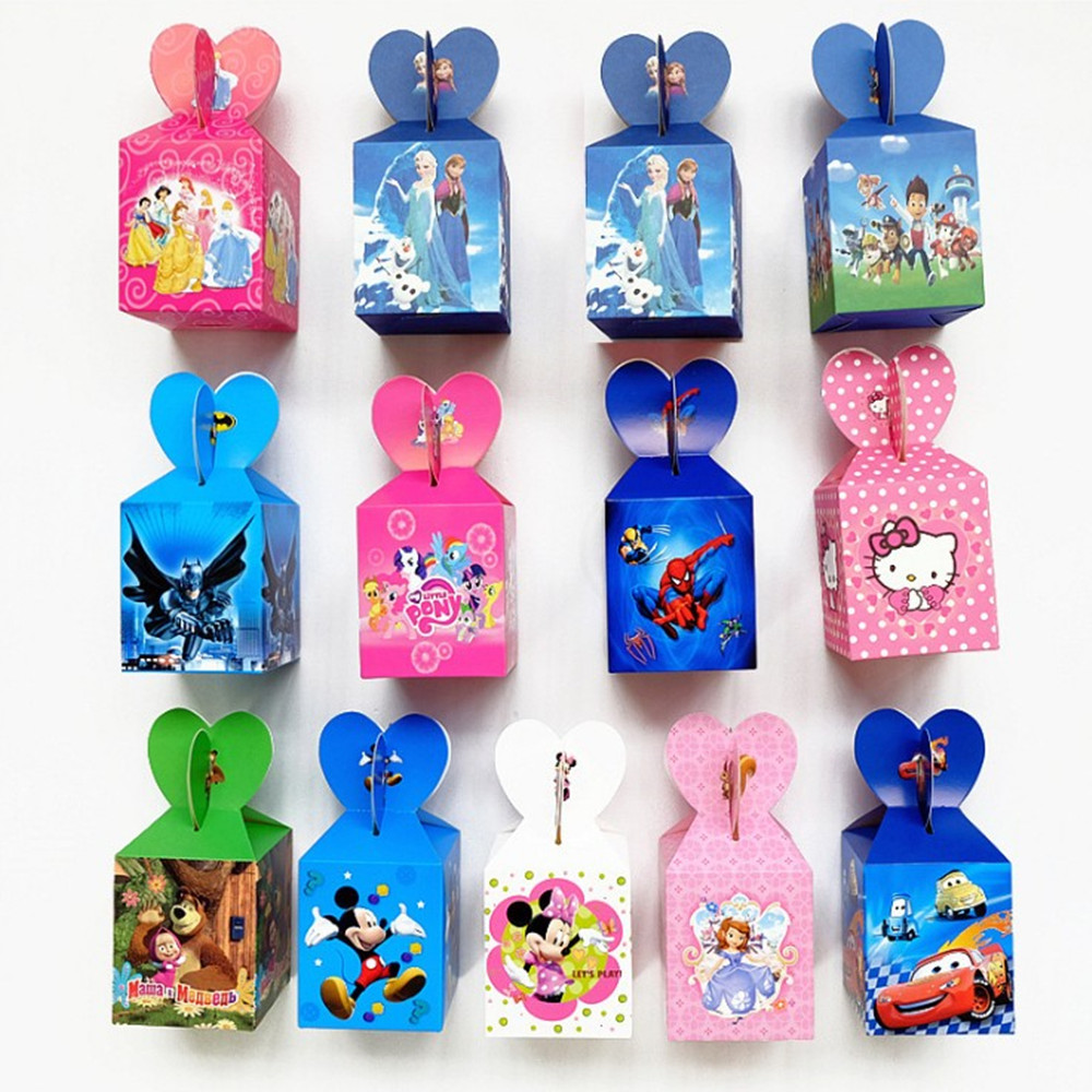 Symbol Of The Brand Free Shipping 18pcs Frozen Mickey Minnie Popcorn Candy Box Kids Happy Birthday Festival Wedding Gift Candy Box Party Decoration Gift Bags & Wrapping Supplies