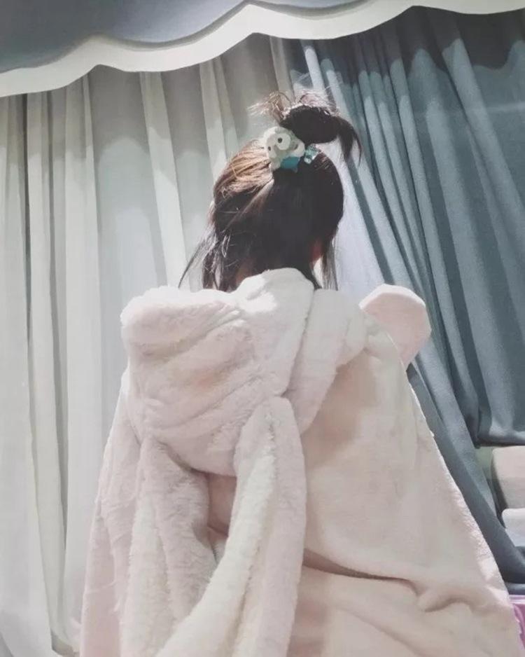 Cute Pink Comfy Blanket Sweatshirt Winter Warm Adults and Children Rabbit Ear Hooded Fleece Blanket Sleepwear Huge Bed Blankets 89