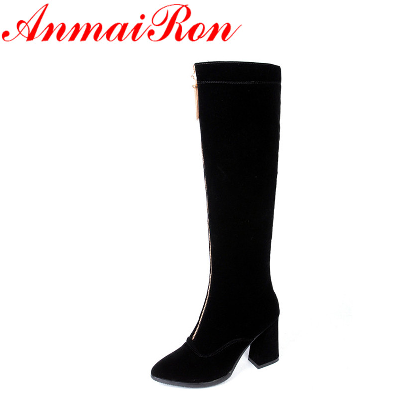 ФОТО ANMAIRON New Black Shoes Fashion Boots High Heels Size 34-39 Platform Winter Boots Round Toe Zippers Knee-high Boots for Women