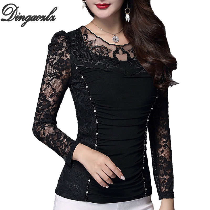 Dingaozlz Blusas Femininas Elegante Women Blouse Casual Mesh Tops Long Sleeve Plus Size Clothing Diamond Patchwork Lace Shirt