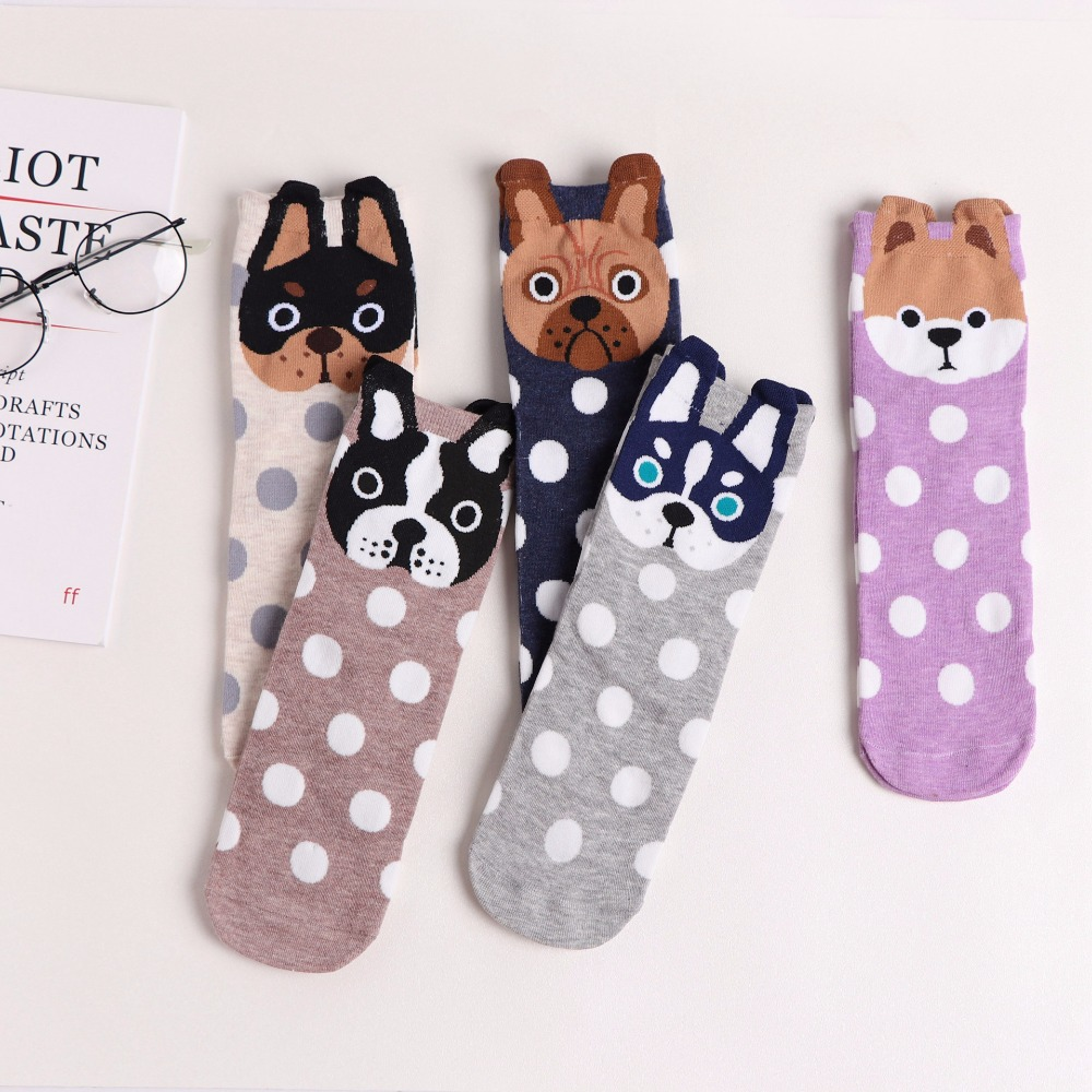 2018 Spring And Summer Womens Socks Small Ear Cartoon Animal Series Cute Dog Harajuku Style Meias Funny Socks Gifts