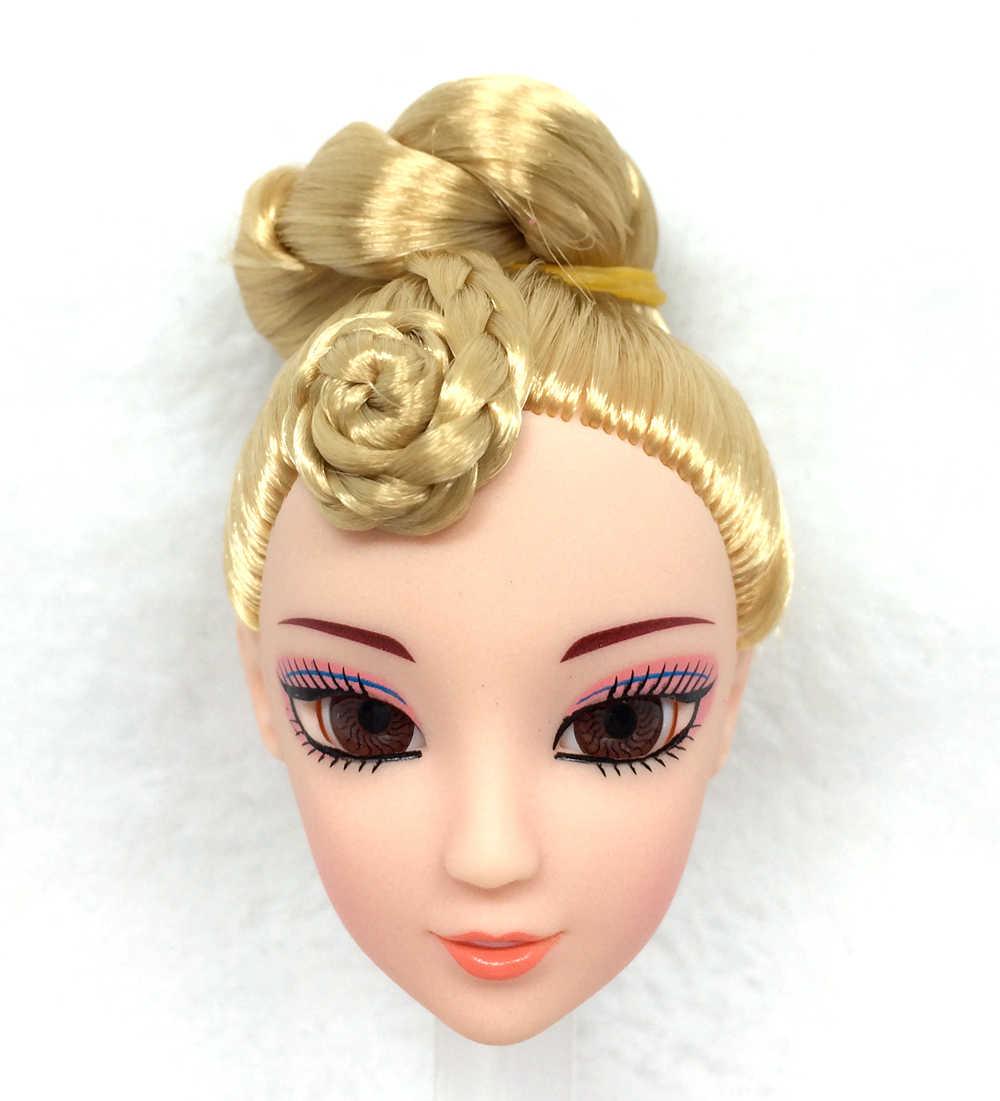 Nk واحدة قطعة أزياء دمية رئيس goldenhair عيون واقعية diy الملحقات باربي kurhn دمية أفضل الفتاة هدية الطفل ديي اللعب 024R