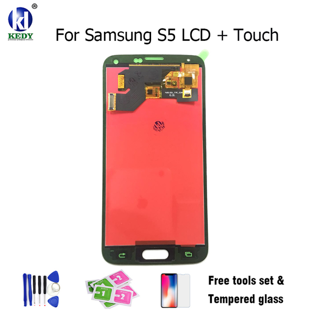 For Samsung S5 lcd SM-G900 SM-G900F G900 I9600 LCD Display + Touch Screen Digitizer With Sensor Glass Panel Assembly Free Tools