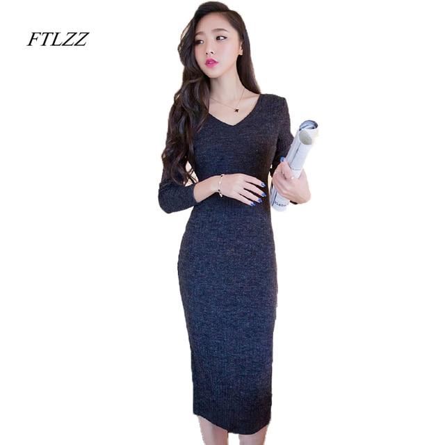 FTLZZ New Autumn Winter Vintage Knitting Sweater Women Dress Long Sleeve V Neck Basic Slim Dress Solid Elegant Dress