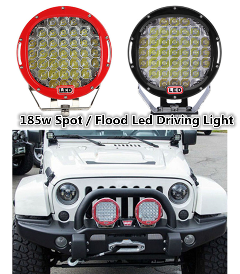 2 Piece 185W 9 Round LED Work Light 12V Fog Driving Roof Bumper off-Road Light for Truck Car ATV SUV Jeeep Boat ATV Auxiliary 2016 new super bright 50w 12 inch 9 led car off road lamp 9 32v ip68 automobile truck work light fog driving light energy saving