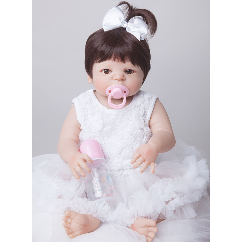 55cm Full Silicone Reborn Baby Doll Toy For Sale Cheap 22inch Newborn Princess Toddler Princess Babies Alive Doll Girl Bonecas 55cm full silicone reborn baby doll toy real touch newborn princess toddler babies alive bebe doll with pacifier girl bonecas
