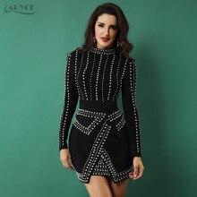 Adyce 2019 Sexy Women Spring Bodycon Mini Black Dress Turtleneck Long Sleeve Beading Club Vestidos Celebrity Evening Party Dress