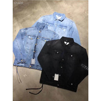 2019FW Kith Denim Jackets Vintage Classic Kith Logo Jacket Men Women Casual Metal Buckle Outerwear Coats