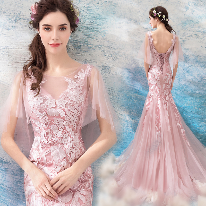 Detail Feedback Questions about Backlakegirls Beautiful Appliques Pearls  Eveing Dress Elegant Flowers Mermaid Nigerian Embroidery Lace Pink Long  Evening ... edb802cbf066