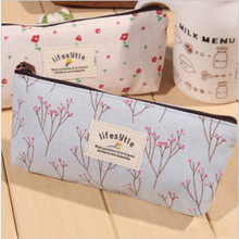 Cute Kawaii Floral Flower Canvas Zipper Pencil Cases Lovely Fabric Flower Tree Pen Bags School Supplies Free shipping 1151