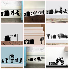 Funny Mouse Hole Wall Stickers Kitchen Bedroom Baseboard Home Decoration 3d Vinyl Decals Diy Cartoon Rat Animal Mural Art