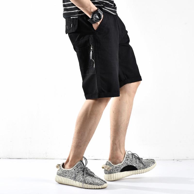 Fashion Summer Mens Jeans Shorts Japanese Style Multi Pockets Khaki Color Cargo Shorts Straight Fit Punk Short Hip Hop Jeans Men