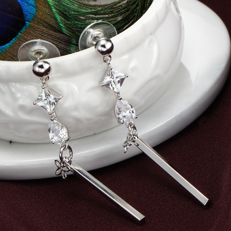 Hesiod Silver Color Cubic Crystal Earrings for Women Long Tassel ... c65965036743