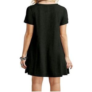 Image 5 - 夏 2019 新ファッション女性のカジュアルラウンドネック半袖ルーズ大女性ドレス腹フィットカジュアル女性estidos