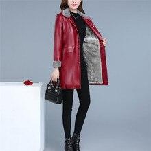 Deri ceket kadın XL 5XL artı boyutu 2019 yeni sonbahar kış kore moda uzun artı kadife gevşek ince suni deri mont LR248