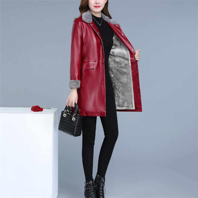Leather Jacket Women XL 5XL Plus Size 2019 New Autumn Winter Korean Fashion Long Plus Velvet Loose Slim Faux Leather Coats LR248