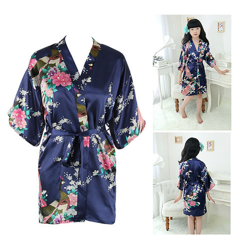 Puseky New Kid Silk floral Robe Kimono Robes Bridesmaid Flower Girl Dress Children Bathrobe Sleepwear Baby Clothes Dressing