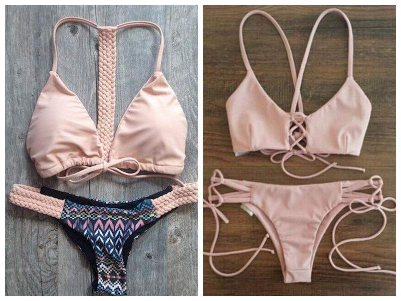 2016 Lovely Swimsuit Bathing Suit Low Waist Sexy Pink Solid Color Side Tie Bikini Set Swimwear Women Biquini 05 lovely pink