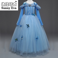 Güneşli eva parti için kelebekler ile prenses kostümleri kız elbise çocuklar prenses elbiseler küçük kızlar için bebek giysileri çocuk