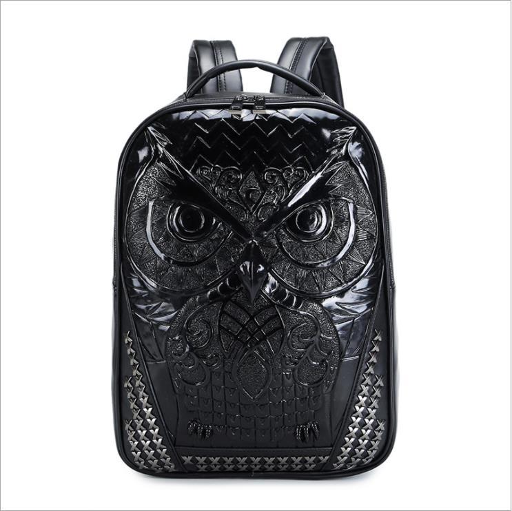 Imperméable à l'eau pu 3d sac à dos femme marée marque 3D hibou pochette d'ordinateur sac d'école Punk en relief sac à dos mochilas mujer 2019 nouveaux sacs à dos