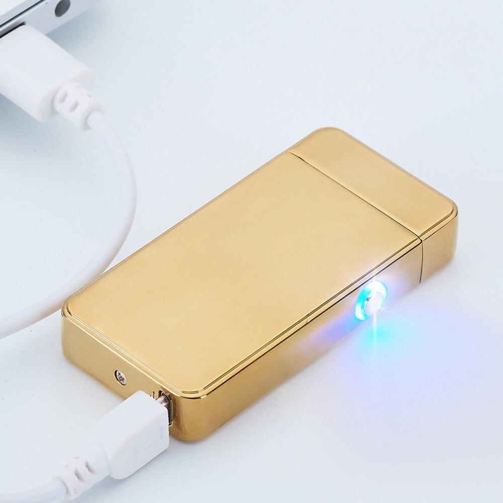 Nueva Povkeever Arco de Doble USB Electrónico Recargable Encendedores Cruz Sin L