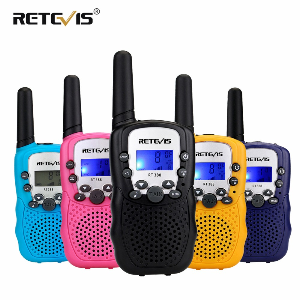 2 piezas Retevis RT388 niños Walkie Talkie niños juguete Radio 0,5 W PMR PMR446 FRS VOX Linterna de mano 2 radio transceptor Hf