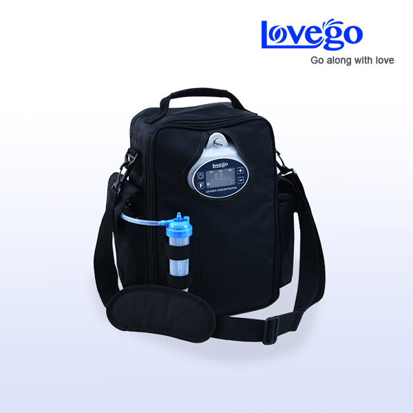 Due batterie + 4 ore di utilizzo Lovego aggiornato portatile concentratore di ossigeno LG102P per 1-5 LPM ossigeno terapia