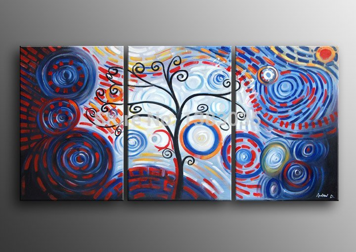 Us 37 0 Hand Painted The Tree Of Life Wall Canvas Art 3 Piece Modern Abstract Oil Paintings On Canvas Home Decoration Picture Sets In Painting