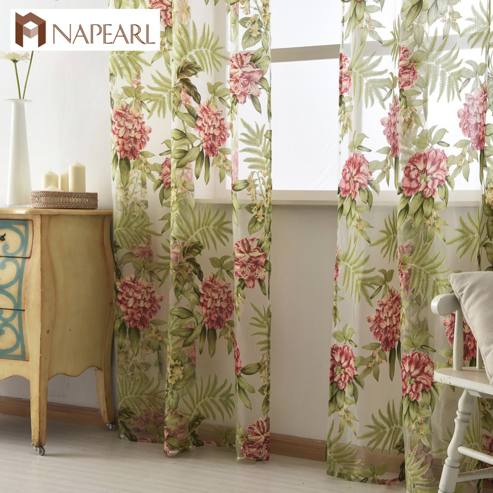 Cheap red curtains - Tulle Curtain Green Leave Red Flower Spring Summer Transparent Sheer Fabrics For Window Treatments Short Panel