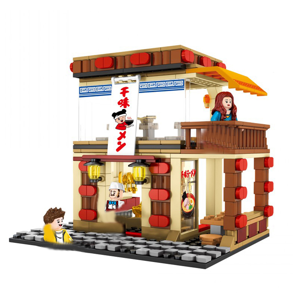hot city mini Street view series Pasta noodle restaurant shop moc Building Blocks model Seller figures bricks toys for gift