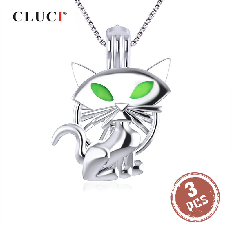 CLUCI 3pcs Halloween Night Green Eyes Cat Women Wish Pearl Locket 925 Sterling Silver Cage Pearl Pendant Jewelry