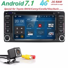 NEW!Android7.1 2DIN QuadCore Car Video GPS For Toyota Corolla Camry Capacitive screen1024*600+wifi+2G RAM+4G+SWC+BT RDS CAM MAP