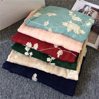 Super Cotton Linen Embroidery Embroidered Female Super Sunscreen Shawl Long 180 65cm Flower Scarf
