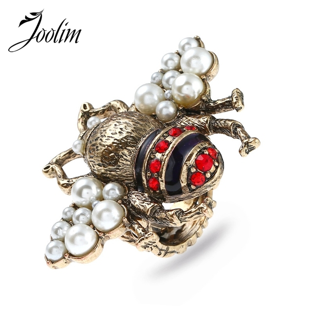Joolim Jewelry Vintage Bee Simulated Pearl Bee Ring For Women