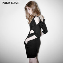 PUNK RAVE Rock Punk Black Sexy Off Shoulder Knitting Dress Zipper V Neck Half Sleeves Knit Clothing Spring Summer Evening Party(China)