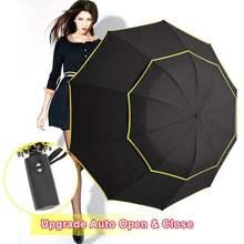 Büyük rüzgar geçirmez 120cm şemsiye yağmur kadınlar çift katmanlı 3 katlanır kaliteli güçlü şemsiye taşınabilir seyahat renkli Golf erkekler şemsiye
