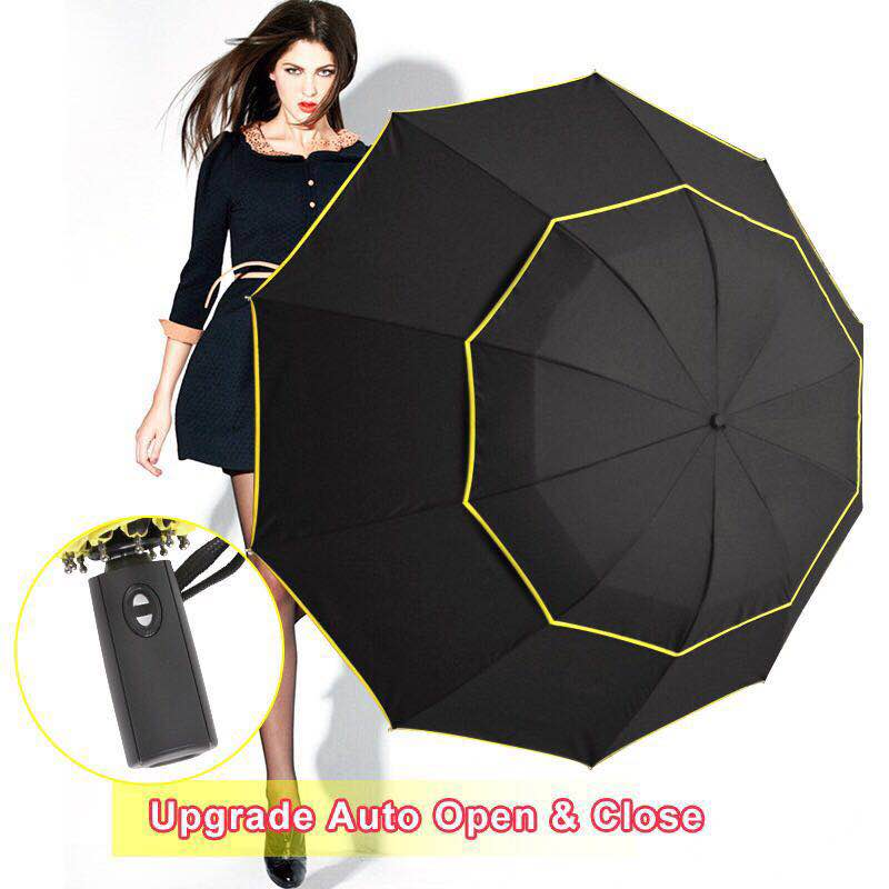 Big <font><b>Windproof</b></font> 120cm <font><b>Umbrella</b></font> Rain Women Double Layer 3Folding Quality Strong <font><b>Umbrella</b></font> Portable Travel Colorful <font><b>Golf</b></font> Men <font><b>Umbrella</b></font> image