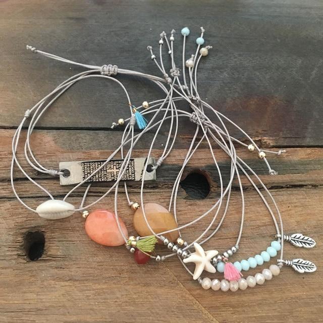 Dongmu jewellery handmade bohemian exaggerated fashion combination beaded elastic crystal ladies bracelet shell tassel