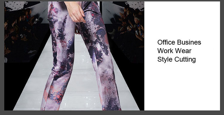 Print Women Business Suit Purple Color Pants Set 2017 05