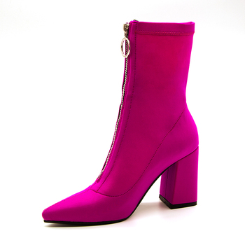 2018 Autumn New Lycra Women Boots Pointed Toe Square Heel Shoes Woman Fashion Bota Feminina Ankle boots Black purple rose red 2