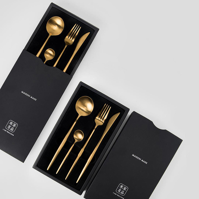 Xiaomi Maision Maxx Stainless Steel Tableware Set Knife Spoon Fork Tea-spoon 4 Kit Dinnerware Black Gold For Smart Home remote
