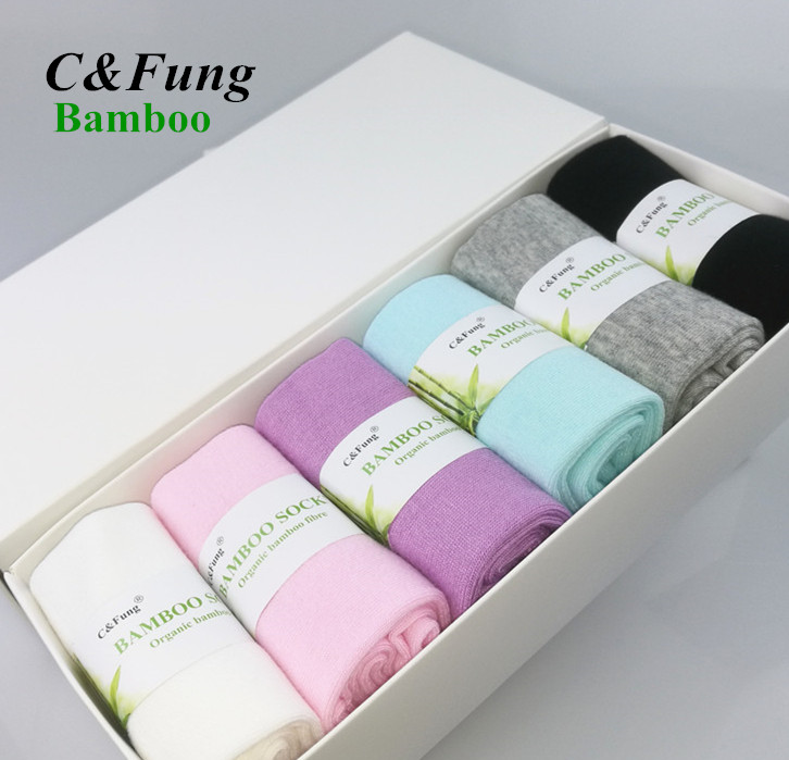 C & Fung marca Mulheres meias caixa de presente meias de fibra de Bambu de alta qualidade de bambu sokken negócios meias vestido Casual para mulher 6 pares